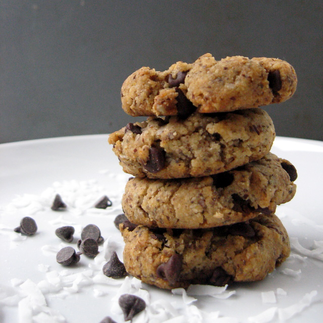 Coconut Butter Cookies with mini chocolate chips