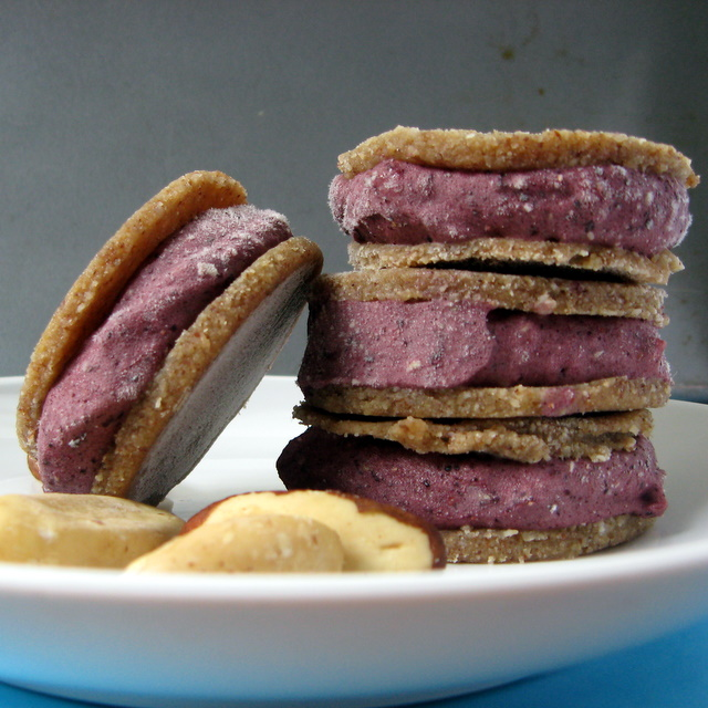 Brazil Nut Banana Cookies surround Banana Blueberry ice cream