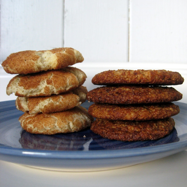 Traditional crisp snickerdoodle on the left, natural nutty chewy cinnamon cookie on the right