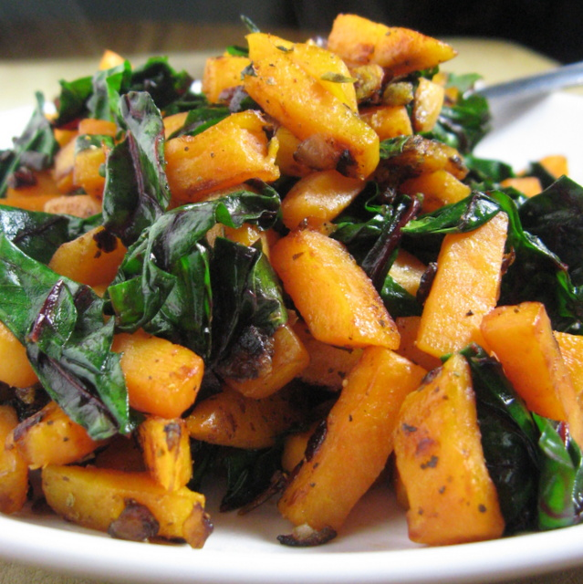 Vegan steamy sweet potato and Swiss chard